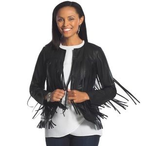 Chico's Black Faux Leather Fringe Jacket